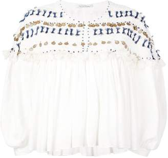 Mes Demoiselles embroidered flared blouse