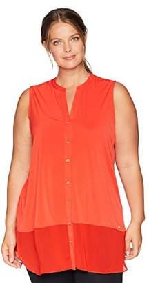 Calvin Klein Women's Plus Size Sleeveless Button UP with Chiffon