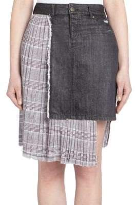 Each X Other Denim Pleated Combo Skirt