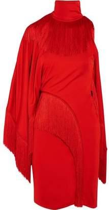 Givenchy One-Shoulder Fringed Jersey Turtleneck Mini Dress