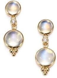 Temple St. Clair Royal Blue Moonstone, Diamond& 18K Yellow Gold Double-Drop Earrings