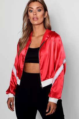 boohoo Plus Satin Sports Stripe Hooded Jacket