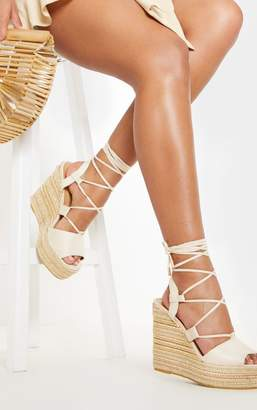 dc7e30a0d PrettyLittleThing Nude Ghillie Lace Up Espadrille Wedge Sandal
