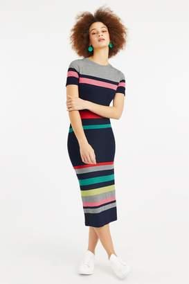 18f1270d4f Next Womens Oasis Natural Rainbow Marl Stripe Tube Dress