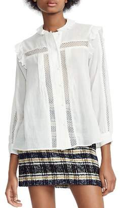 Maje Cameo Ruffled & Lace-Detail Cotton Voile Top