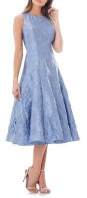 Carmen Marc Valvo Brocade Fit-and-Flare Dress
