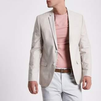 River Island Stone skinny fit Oxford blazer
