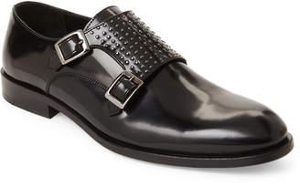 Jared Lang Black Leather Studded Monk Strap Shoes
