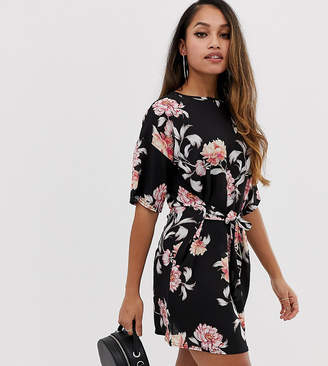 Missguided Petite tie front mini dress in black floral