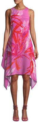 Josie Natori Prism Sleeveless Abstract-Print Dress w/ Handkerchief Hem
