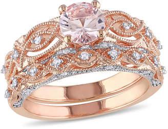 MODERN BRIDE Genuine Morganite & 1/4 CT. T.W. Diamond 10K Rose Gold Bridal Set