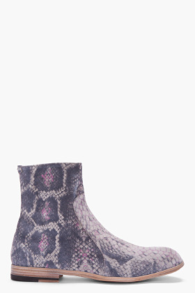 MAISON MARTIN MARGIELA Grey Suede Python Print Boots
