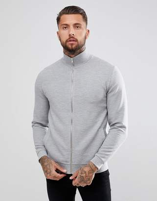 Asos Design Jersey Ribbed Track Jacket In Grey
