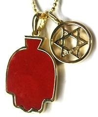 M2 Design - Red Hamsa Star of David Necklace