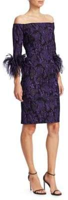 Teri Jon by Rickie Freeman Off-The-Shoulder Feather& Jacquard Sheath Dress