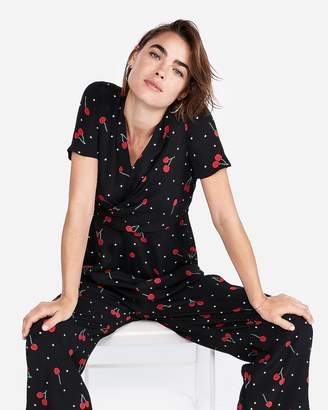 Express Cherries Print Twist Front Jumpsuit