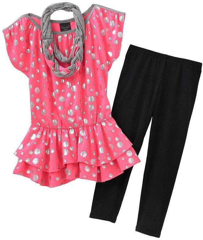 Weavers girl dot neon top and capri leggings set - girls 7-16