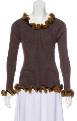 Jean Paul Gaultier Fur-Trimmed Virgin Wool Sweater