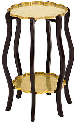 One Kings Lane Vintage Two-Tier Brass Tray Side Table - Janney's Collection