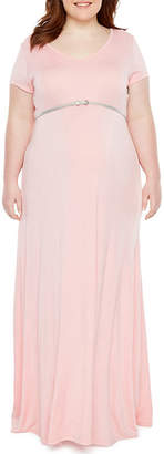 PLANET MOTHERHOOD Planet Motherhood Short Sleeve Scoop Neck Maxi Dress - Plus Maternity