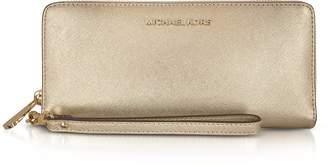 Michael Kors Jet Set Travel Large Pale Gold Metallic Leather Continental Wallet