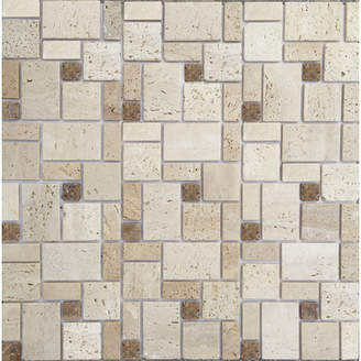 BEIGE Instant Mosaic 12'' x 12'' Natural Stone Peel & Stick Mosaic Tile in Brown &