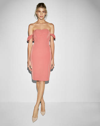 Express Strapless Off The Shoulder Sheath Midi Dress