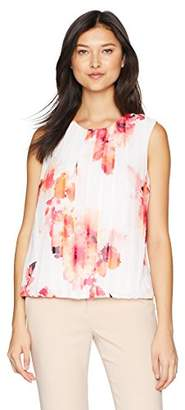 Calvin Klein Women's Sleeveless Pleated Front Top in Floral Print