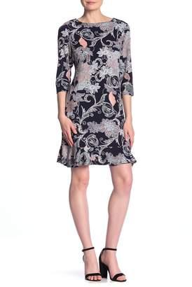 Sandra Darren 3\u002F4 Sleeve Flounce Hem Dress