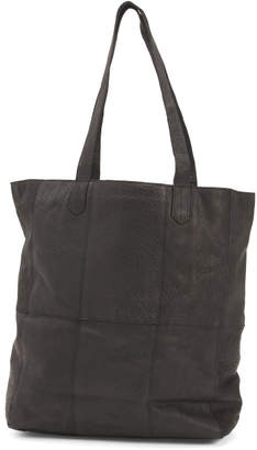 Heather Leather Tote With Front Pocket