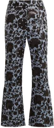 Eda floral-jacquard flared trousers