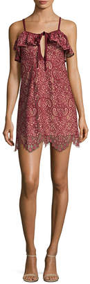 For Love & Lemons Cold-Shoulder Lace Mini Dress