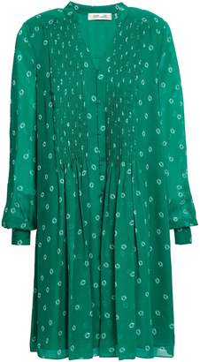 Diane von Furstenberg Pintucked Printed Silk-chiffon Mini Dress