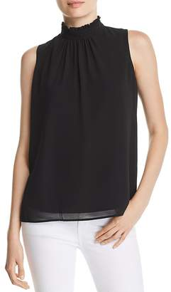 Karl Lagerfeld Lace-Inset Mock-Neck Top