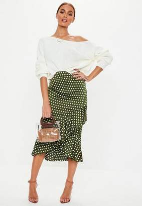 Missguided Olive Green Satin Polka dot Frill Midi Skirt