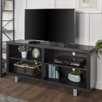"Walker Edison 58"" Modern TV Stand Media Storage Console Entertainment Center - Black"
