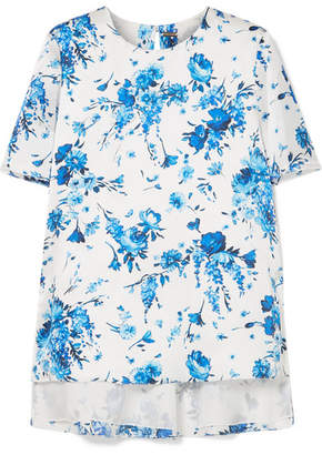 ADAM by Adam Lippes Floral-print Hammered-silk Top - Ivory