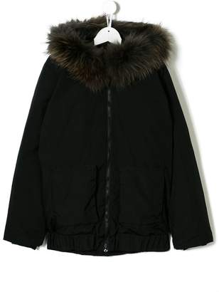 7a5bb9c68db6 ... Douuod Kids TEEN fur-trim hood coat