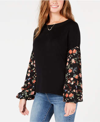 American Rag Juniors' Floral-Print Contrast Sweater, Created for Macy's