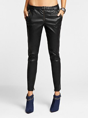 Faux-Leather Cropped Skinny Moto Pants