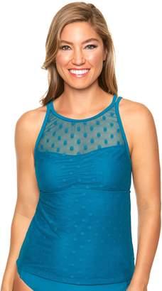 Couture Women's Aqua Polka-Dot Mesh Tankini Top
