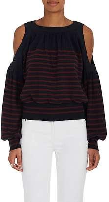 Sacai Women's Striped Cotton-Cashmere Layered Sweater $660 thestylecure.com