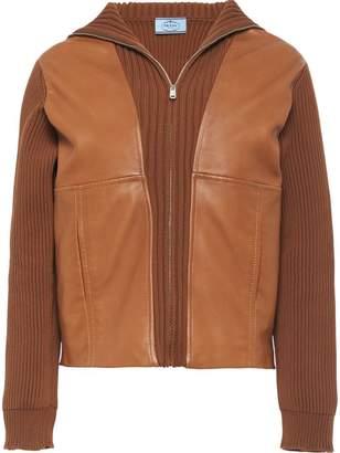 Prada leather insert cardigan
