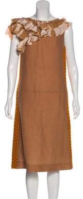 Marni Ruffle-Trimmed Midi Dress w/ Tags