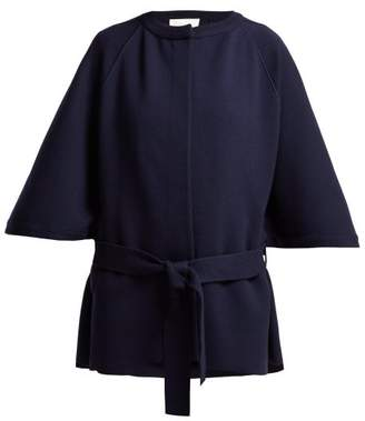 Chloé Intarsia Knit Wool Blend Cape Coat - Womens - Navy