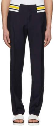 Loewe Navy Contrast Rib Trousers