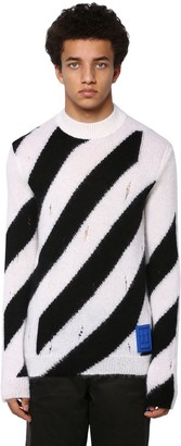 Off-White OFF WHITE モヘア混 デストロイドセーター
