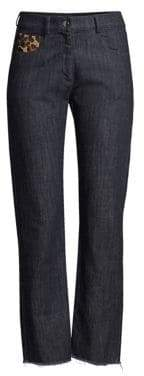 Michael Kors Straight-Leg Patch Jeans