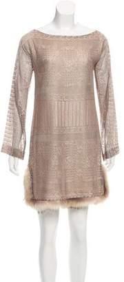 J. Mendel Fur-Trimmed Open Knit Dress