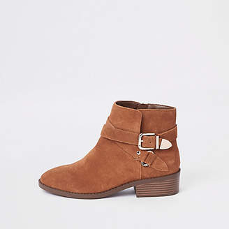 River Island Light brown suede double buckle ankle boot
